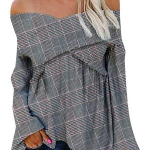 Sexy V-Neck Off Shoulder Shirt Plaid